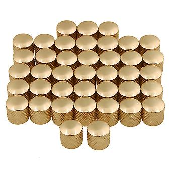 40 x Guld Metal Electric Guitar Knobs Knurling Cylinder Dome Knobs