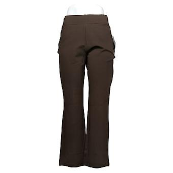 IMAN Global Chic Women's Pants Petite 360 Slim Ponte Brown 722609208