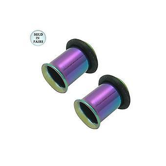 Multi-colored anodized titanium single flare tunnel plug with o rings - 2 gauge
