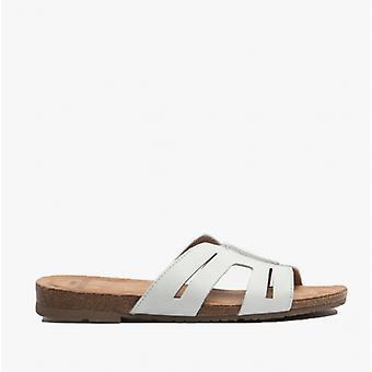 Earth Spirit Leah Ladies Leather Mule Sandals White