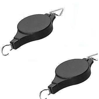 2 X Retractable Hanging Basket Hooks With Rope Pull, Garden Baskets Pots Auto Telescopic Hooks