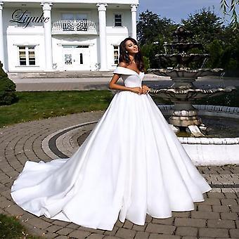 A-line Wedding Dress With Folden V-neckline Off The Shoulder ( Set 2)