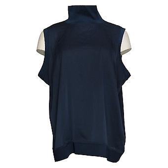 Lisa Rinna Collection Women's Top Mixed Media Turtleneck Blue