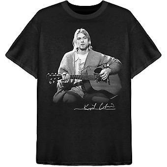Kurt Cobain - Guitar Live Photo Men's Large T-Shirt - Preto