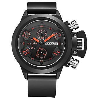 Multifunctional men's watch, sports silicone waterproof quartz watch(Black)
