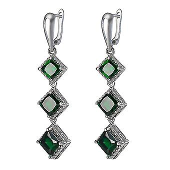 Long Ear Drops Exaggerated Bohemian Electroplated Platinum Emerald Zircon Earrings For Anniversary