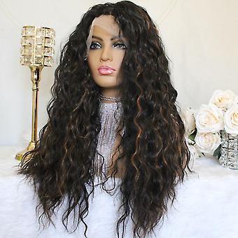 Destacar ombre t parte peluca de encaje pelucas sintéticas rizadas #1b/30 pelucas de onda profunda para mujeres 22inch