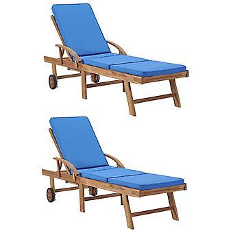 vdaXL chaises longues avec des tirages 2 pcs en bois massif teck bleu