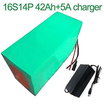 Battery With Charger 5a 42ah 60v Li-ion 18650 Rechargeable Electric Two Three-wheeled Motorcycle Bike Ebike Accept Customization 16s14p 275 * 165 * 14
