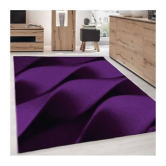 Alfombra de pila corta Sala de estar Alfombra Ondas Patrón Púrpura Negro moteado