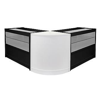 Winkel tellers zwart / wit retail display kasten POS glazen planken keizer