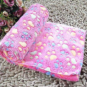 Soft And Hot Animal Fleece Cover Bed Cover Pad Dog Puppy Animal-pink M