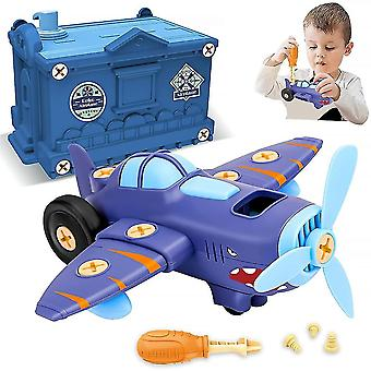 Byggelegetøj til børn tager flylegetøj fra hinanden med elektrisk motorlegetøj