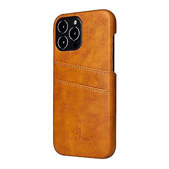 For iPhone 13 Pro Case Deluxe Lær Lommebok Tilbake Shell Slank Deksel Gul