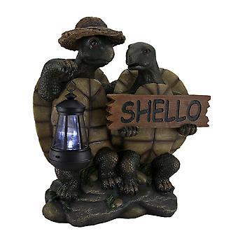 Shello dekorative Schildkröte paar Willkommensschild Statue w/Solar LED Laterne 15 in.