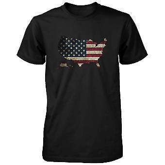 Hombres USA camiseta negra gráfico de mapa de la bandera de U.S.