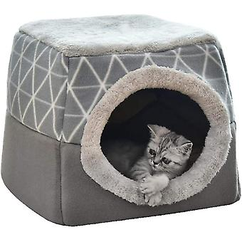 Two-in-one Foldable Closed Pet Cat And Dog Kennel (grey L)