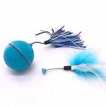 Cat jucării electrice cat jucării de rulare mingea inteligent automat pisica jucărie cu laser pene jucării pentru pisici albastru