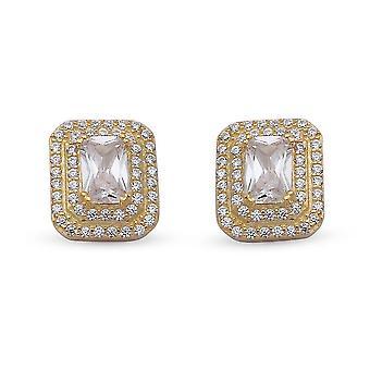 Elanza White Cubic Zirconia Ohrstecker Vergoldete Silber Geschenk für ihre 2.77ct
