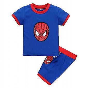 Kid Boy Summer Spiderman Batman Outfit Short Sleeve T-shirt Shorts Set