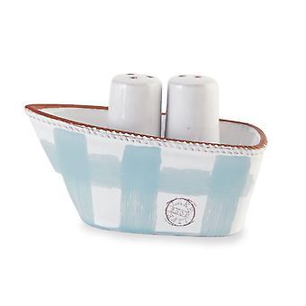 Lake leven blauw en wit boot zout en peper Shaker Set keramische