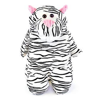 Barna nyhet mykt polstret skinn dekket Hotwater flaske - hvit Tiger