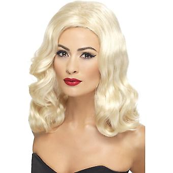 20 's γλυκύτατος Μακρυςαέρας περούκα ξανθιά με τα κύματα