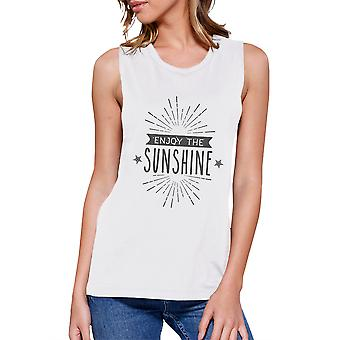 Enjoy The Sunshine Womens White Summer Cotton Sleeveless T-Shirt