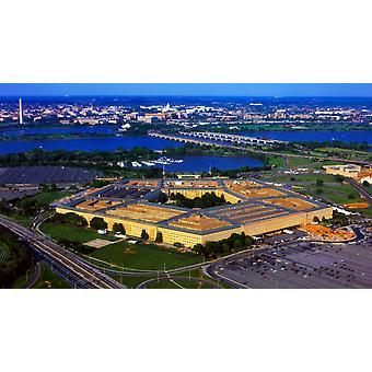 Аэрофотоснимок Пентагон в сумерках Вашингтон Округ Колумбия США плакат печати панорамных изображений