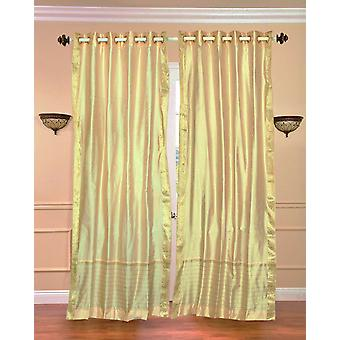 Golden Ring Top  Sheer Sari Curtain / Drape / Panel  - Piece