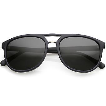 Prime polarisée Flat Top Aviator lunettes de soleil métal pont de nez rond objectif 55mm