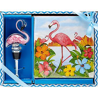 Flamingo Cocktail Napkins and Bottle Topper Stopper Gift Set