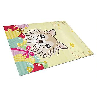Chihuahua Easter Egg Hunt Glass Cutting Board Large