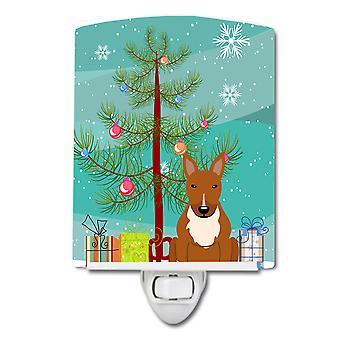 Веселая Рождественская елка бультерьер красный керамический ночной свет