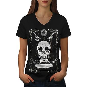 Guns Skeleton Death Women BlackV-Neck T-shirt | Wellcoda