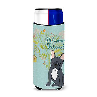 Welcome Friends Black French Bulldog Michelob Ultra Hugger for slim cans