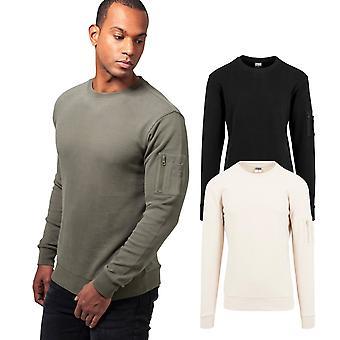 Urbanas classics - suéter de cuello redondo de bombardero del dispositivo de seguridad