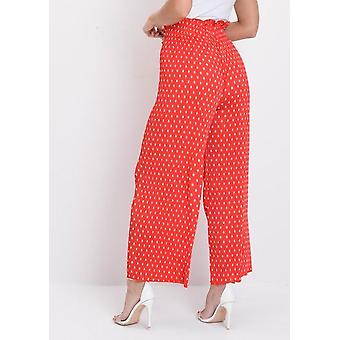Polka Dot Plissee weites Bein Culotte Hose rot