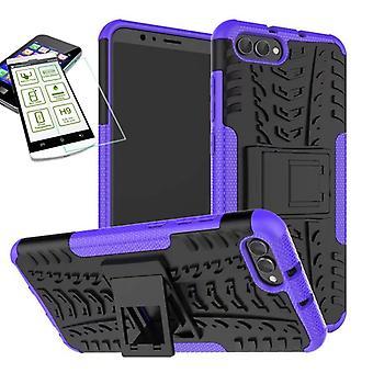 Hybrid sag af 2 stykke lilla for Huawei honor Se 10 / V10 + hærdet glas taske case cover