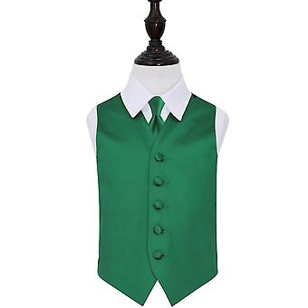 Emerald Green Plain Satin Wedding Vest & Tie Set voor jongens