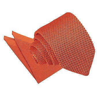 Bränd Orange stickad smal slips & Pocket Square Set