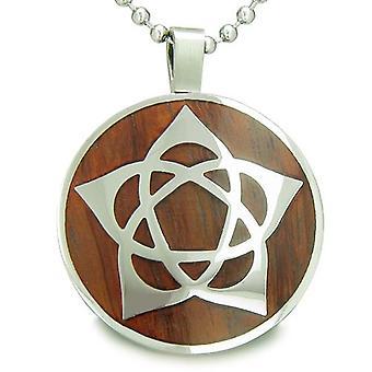 Blomsten av livet Wiccan Pentagram Star Amulet magiske tre krefter Amulet sirkel anheng halskjede