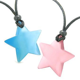 スーパー スターのお守り愛のカップルまたは最高の友達セット空青とピンク猫目水晶ネックレス