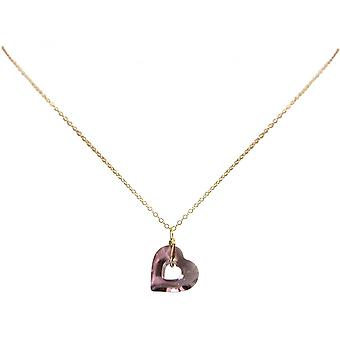 Damen - Halskette - Anhänger - Vergoldet - Herz - Open Heart - Rose - Lila - 45 cm