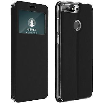 Venster flip case, flip wallet case met staan 7A van de Honor / Huawei Y6 2018 - zwart