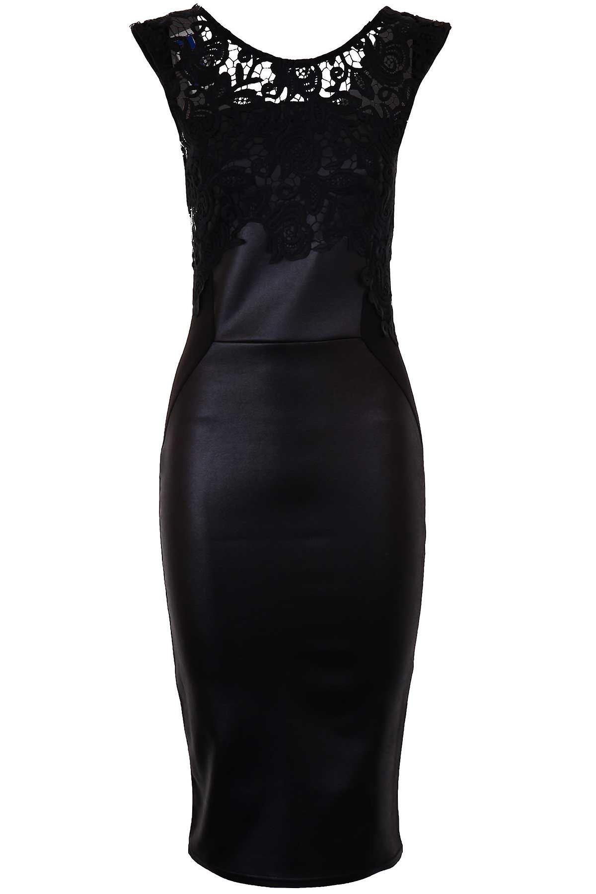 Ladies Celeb Michelle Wetlook PU Lace Trim Crochet Slim Bodycon Women's Dress