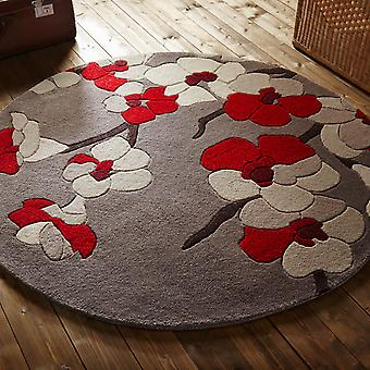 Infinite Blossom Circular Rugs Taupe And Red