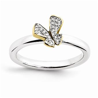 925 Sterling Silver Polished Prong set Pileable Expressions 14k Gold PlatedButterfly Angel Wings Dia. Ring Jewelry Gift
