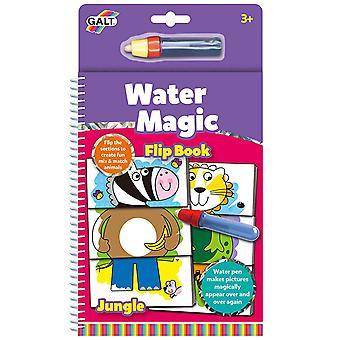 Galt vatten Magic Flip bok djungel, färgning bok för barn