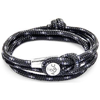 Âncora e tripulação Dundee prata e corda pulseira - preto